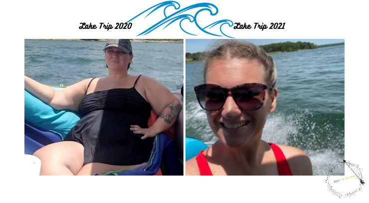 2 pictures of sara from keto on the rise from the lake 2020 and the lake 2021 for the keto on the rise blog post lake trip
