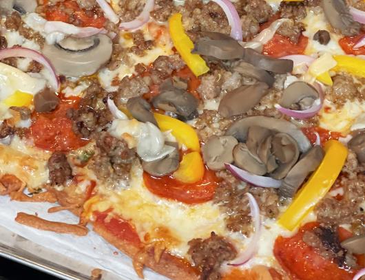 keto Supreme pizza on a keto fat head dough