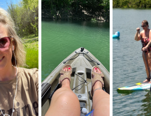Sara from Keto On the Rise walking outdoors, kayaking at the lake and paddle boarding at the lake for the blog post working out on keto