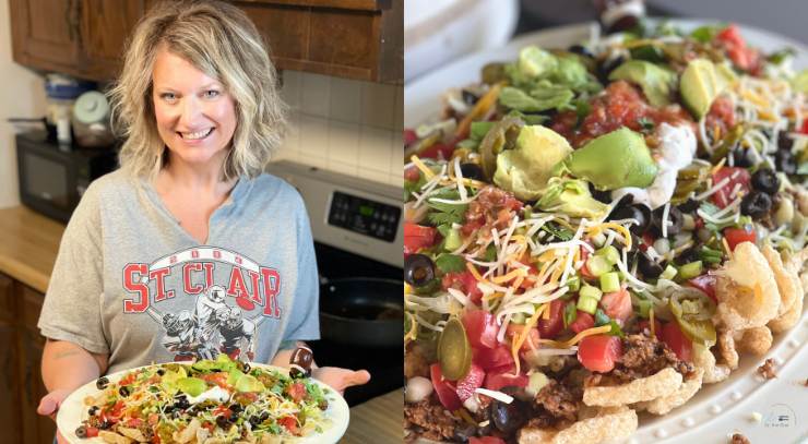 Sara from keto on the rise holding a plate of beef and queso loaded nachos for the blog post beef and queso loaded keto nachos